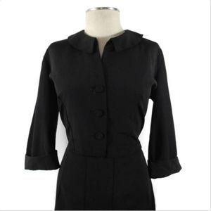 Vintage 40's- 50's Black MCM Sheath Dress L-XL